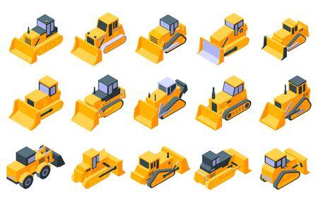 Bulldozer icons set. Isometric set of bulldozer vector icons for web design isolated on white background Ilustrace