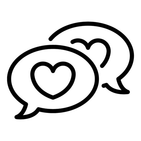 Love chat icon, outline style