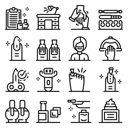 Manicurist icons set, outline style