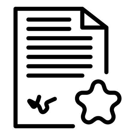Paper star document icon. Outline paper star document vector icon for web design isolated on white background Illustration