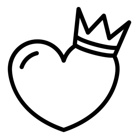 Crown on heart icon. Outline crown on heart vector icon for web design isolated on white background