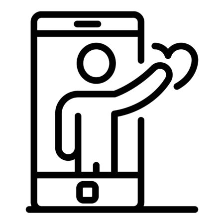 Smartphone man avatar icon. Outline smartphone man avatar vector icon for web design isolated on white background 일러스트