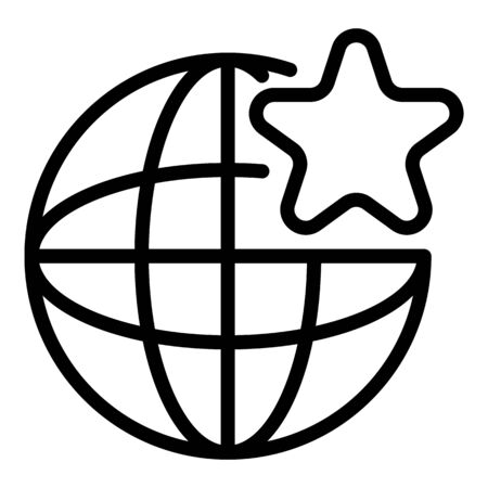 Global star engaging icon. Outline global star engaging vector icon for web design isolated on white background 일러스트