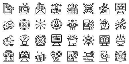 Marketer icons set. Outline set of marketer vector icons for web design isolated on white background