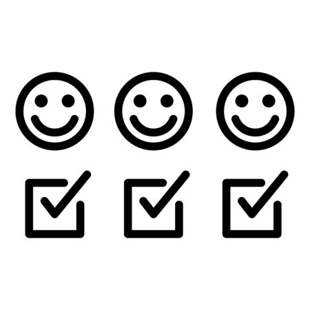 Positive feedback icon. Outline positive feedback vector icon for web design isolated on white background 일러스트