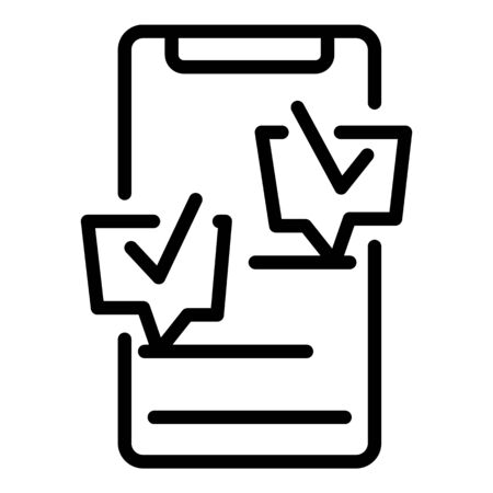 Smartphone checklist icon. Outline smartphone checklist vector icon for web design isolated on white background 일러스트