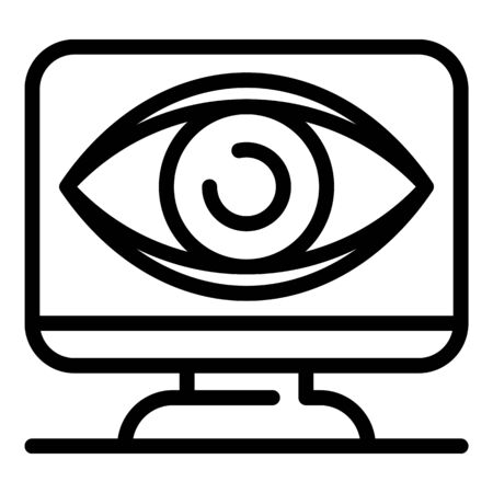 Big eye on monitor icon. Outline big eye on monitor vector icon for web design isolated on white background 일러스트