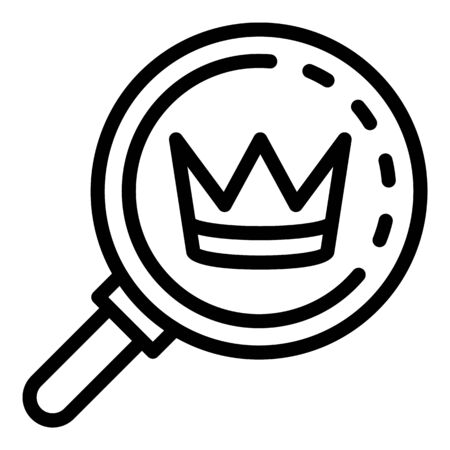 Crown under magnifier icon. Outline crown under magnifier vector icon for web design isolated on white background