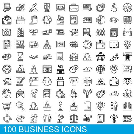 100 business icons set, outline style
