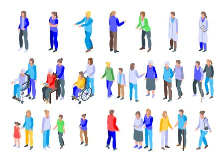 Caregiver icons set, isometric style