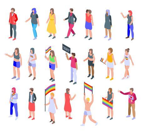 Conjunto de iconos de personas transgénero, estilo isométrico Ilustración de vector