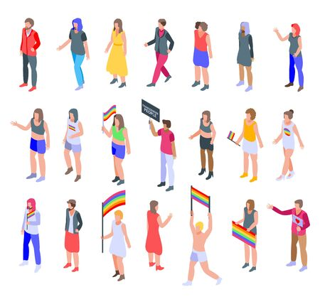 Zestaw ikon osób transpłciowych, styl izometryczny Ilustracje wektorowe