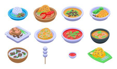 Thai food icons set, isometric style Çizim