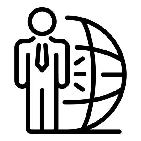 Financial advisor icon, outline style Illusztráció