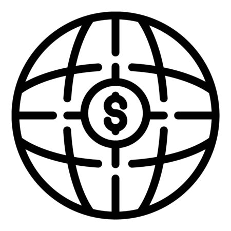 Global money icon, outline style