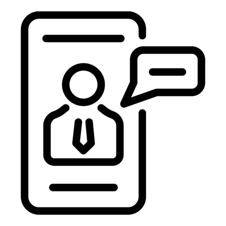 Smartphone finance icon, outline style