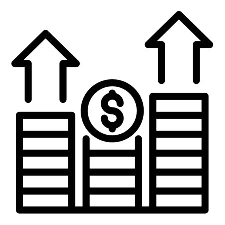 Money coins graph icon. Outline money coins graph vector icon for web design isolated on white background  イラスト・ベクター素材