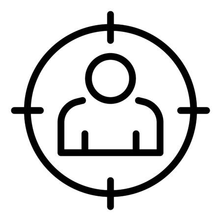Man target icon. Outline man target vector icon for web design isolated on white background Illustration