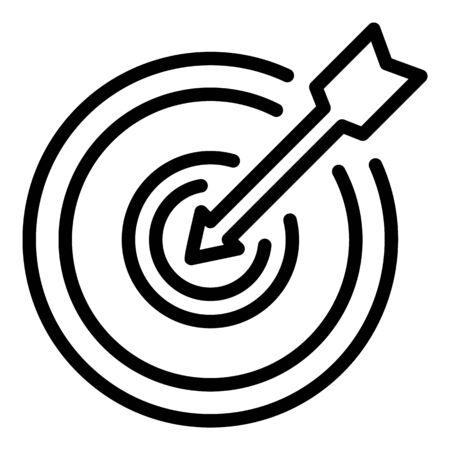Icône de cible de flèche. Décrire l'icône vecteur cible flèche pour la conception web isolé sur fond blanc