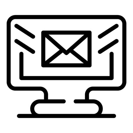 Mail computer icon, outline style Illustration