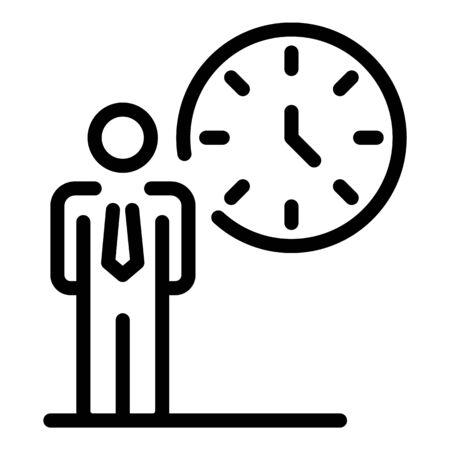 Working time icon, outline style Stok Fotoğraf - 138464151