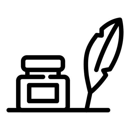 Storyteller ink feather icon, outline style Ilustracja