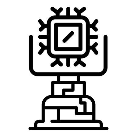 Ai learning machine icon, outline style Çizim