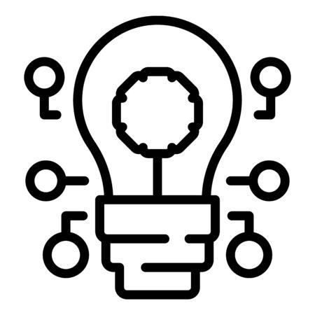 Ai bulb icon, outline style Ilustracja