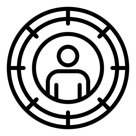 Man target icon, outline style