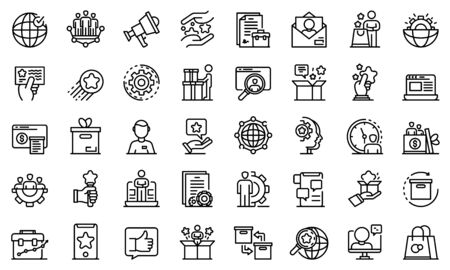 Product manager icons set. Outline set of product manager vector icons for web design isolated on white background Archivio Fotografico - 138462475