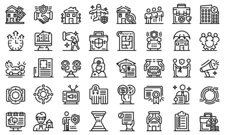 Advertising agent icons set, outline style