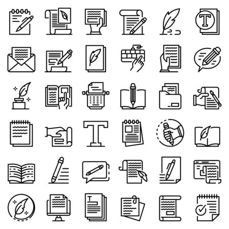 Copywriter icons set, outline style Ilustracja
