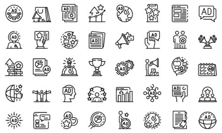 Advertising Manager icons set, outline style