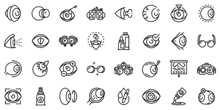 Optician icons set, outline style