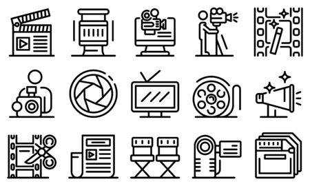 Cameraman icons set, outline style