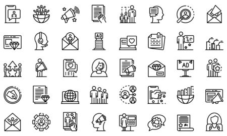 PR specialist icons set, outline style
