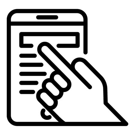Finger on smartphone icon, outline style