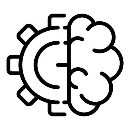 Gear ai brain icon, outline style Stok Fotoğraf - 138464287