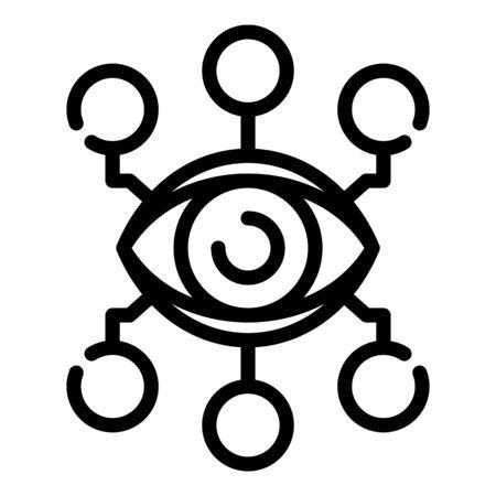 Ai eye analysis icon, outline style