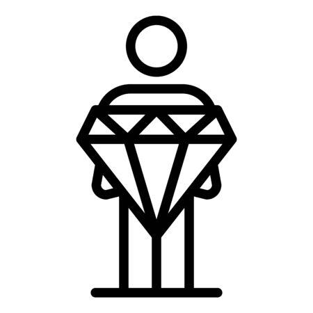 Gamer take diamond prize icon, outline style  イラスト・ベクター素材