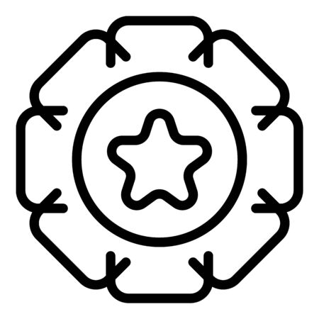 Star emblem icon, outline style