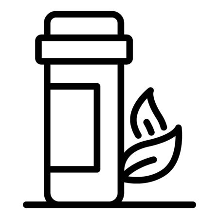 Plastic jar and twig icon, outline style