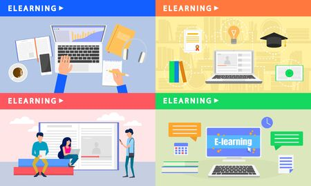 Elearning banner set. Flat illustration of elearning vector banner set for web design