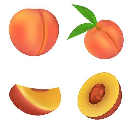 Peach icons set. Realistic set of peach vector icons for web design isolated on white background