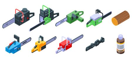 Chainsaw icons set, isometric style