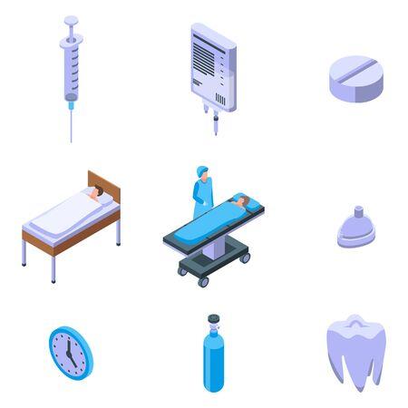 Anesthesia icons set, isometric style Vector Illustration