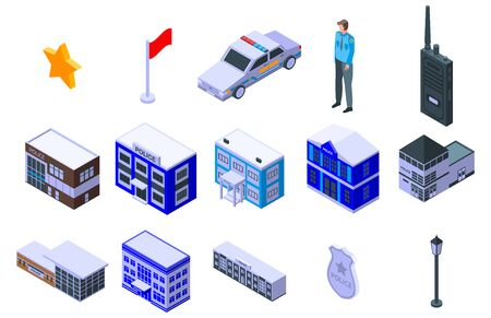 Police station icons set. Isometric set of police station vector icons for web design isolated on white background