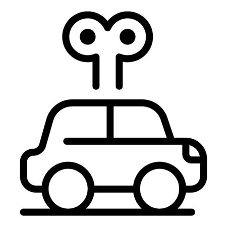 Clockwork car icon. Outline clockwork car vector icon for web design isolated on white background Illustration