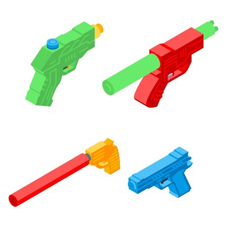 Squirt gun icons set. Isometric set of squirt gun vector icons for web design isolated on white background Vector Illustratie