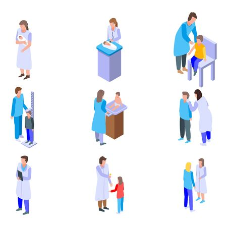 Pediatrician icons set, isometric style Illustration